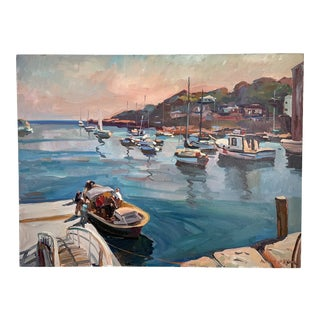 """""""Launch Time"""" Harbor Scene Oil Painting For Sale"""