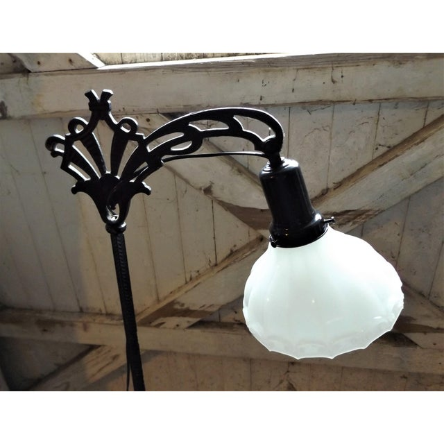 Antique Iron Bridge Floor Lamp & Milk Glass Shade - Image 4 of 9
