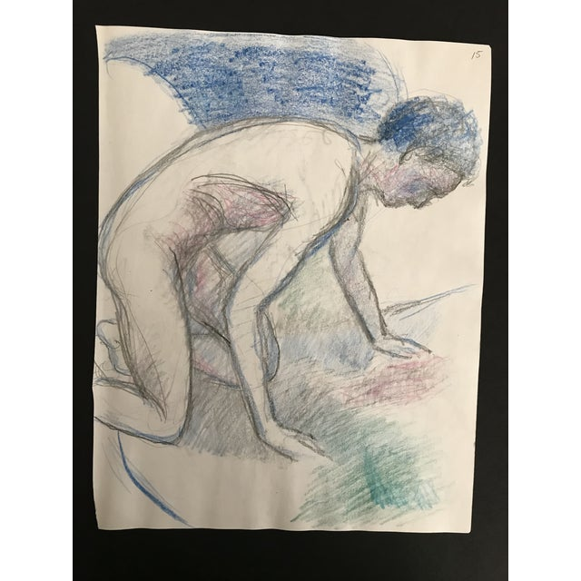 Contemporary 1980s Posing Male Model Studio Drawing For Sale - Image 3 of 3