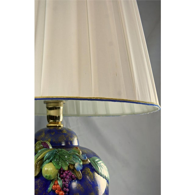 2010s Italian Majolica Table Lamp Hand-Painted Blue For Sale - Image 5 of 8