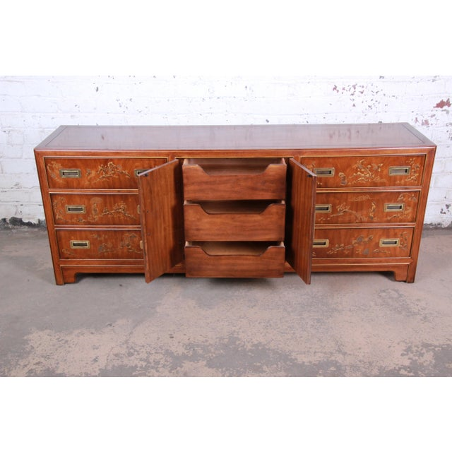 1980s Drexel Heritage Hollywood Regency Chinoiserie Long Dresser or Credenza For Sale - Image 5 of 13