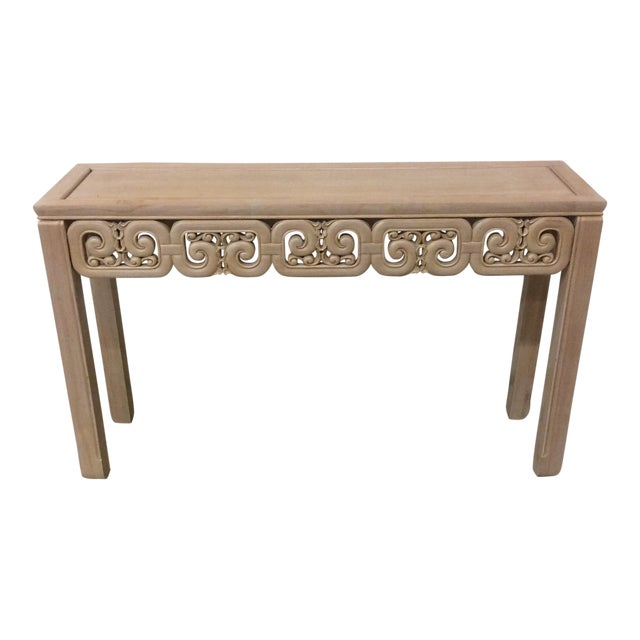 Asian Style White Wash Wood Carved Console Table For Sale