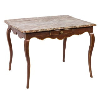 French Center Table or Side Table With Faux Marble Painted Top With Single Drawer 19th Century