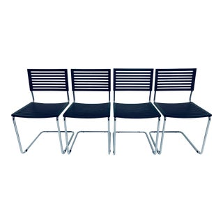 Italian Postmodern Cantilevered Chrome Tube Dining Chairs - Set of Four For Sale