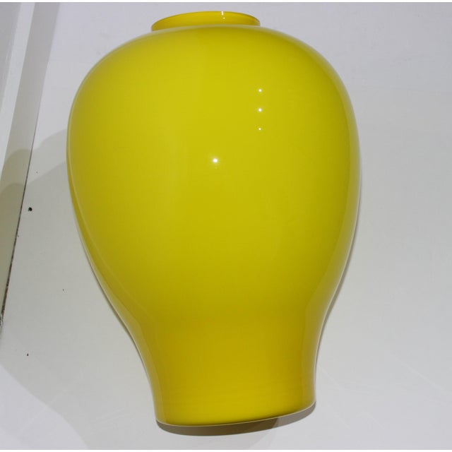 "Glass Yellow Vetri Murano Glass Vase 17"" 1970s For Sale - Image 7 of 13"