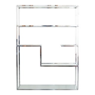 1970's Vintage Baughman Style Chrome Shelf For Sale