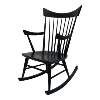 Mid-Century Modern Edmond Spence Style Black Rocking Chair For Sale