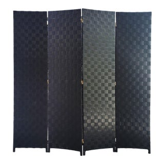 Vintage Woven Vinyl 4-Panel Folding Screen Room Divider For Sale
