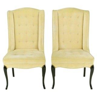 Pair 1940s Creamy Velvet Button-Tufted Slipper Chairs For Sale
