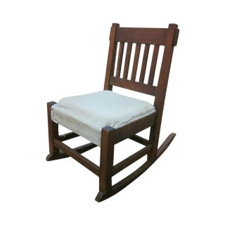 Antique Mission Oak Armless Nursing Stickley Style Rocker Rocking Chair For Sale