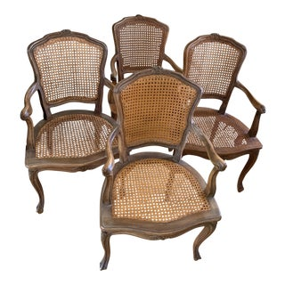 Vintage French Provincial Wood Cane Armchairs Set of Four For Sale
