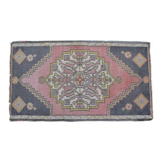 """Front of Kitchen Sink Rug Hand Made Bath Mat Faded Mini Rugs 1'9"""" X 3'1"""" For Sale"""