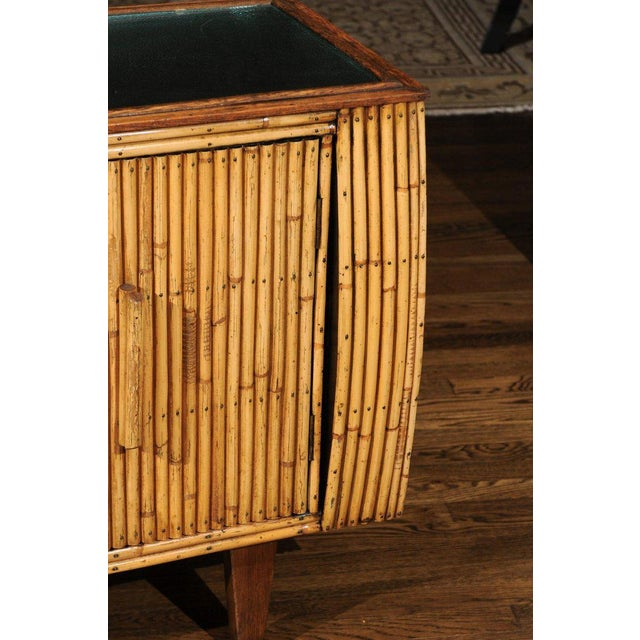 1940s Chic Restored Art Deco Commode in Bamboo and Black Lacquer, Circa 1940 For Sale - Image 5 of 12