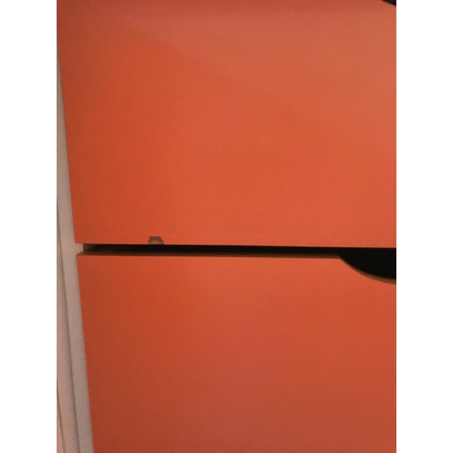 Asian Chinoiserie Chic Orange Cabinet & Drawers Credenza Sideboard For Sale - Image 3 of 11