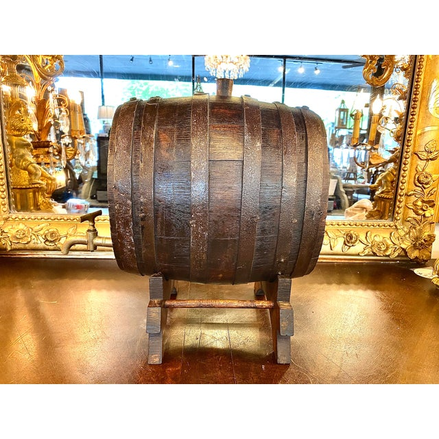 19th Century 19th Century French Oak Cognac Barrel on Stand For Sale - Image 5 of 8