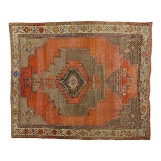 Vintage Turkish Oushak Rug - 10′2″ × 11′11″ For Sale