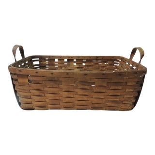 Antique Large Over-Size Wooden Flat Woven Harvest Basket With Handles