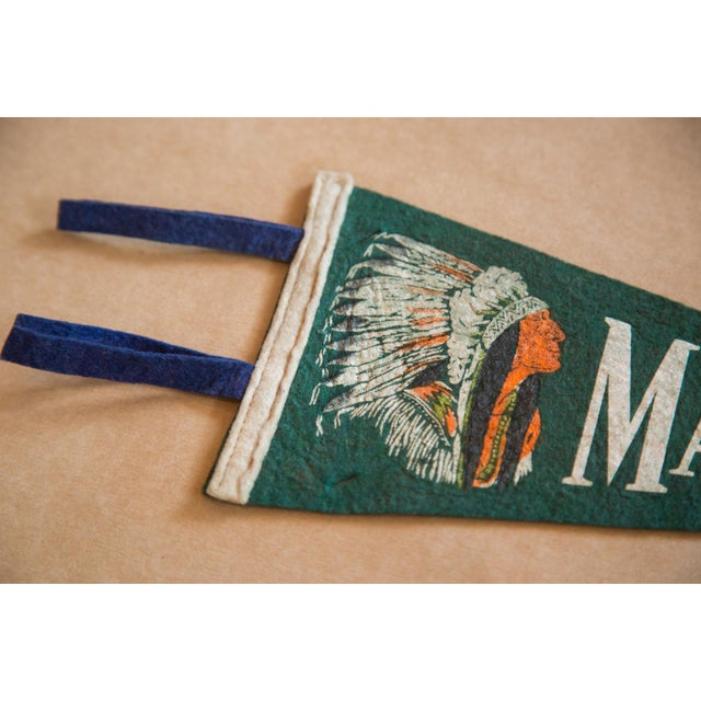 :: Vintage Mansfield, OH felt flag banner featuring a portrait of a Native American man wearing a traditional headdress....