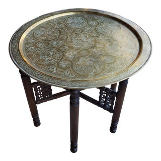 1980s Moroccan Copper Tea Table With Wooden Folding Base For Sale