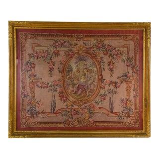19th Century Antique Classical Figural Garden Scene Petit Point Textile Art For Sale