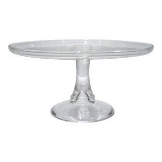 """8"""" Mid-Century Glass Pedestal Cake Stand For Sale"""