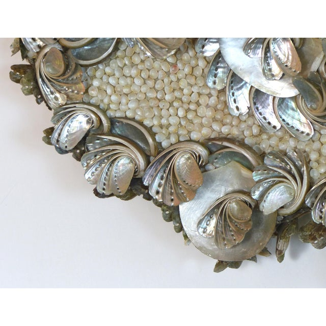 2010s Palm Beach Chic Mother-Of-Pearl Shell Encrusted Mirror For Sale - Image 5 of 13