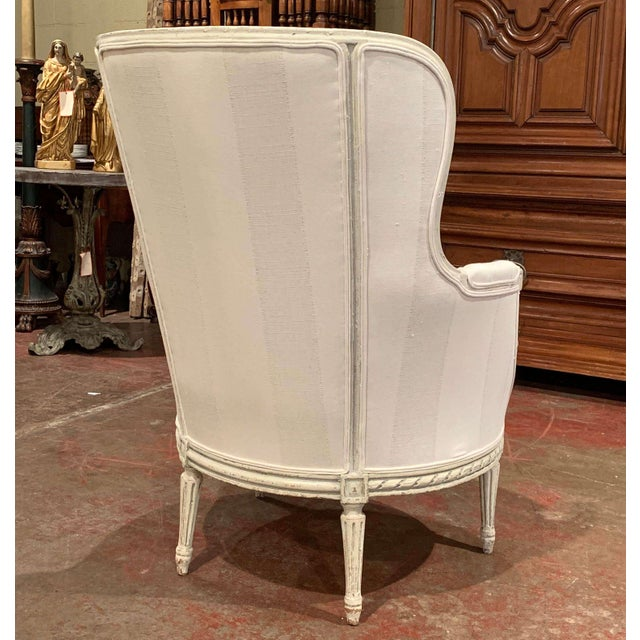 19th Century Louis XVI Carved Painted Bergere Armchair For Sale - Image 11 of 13