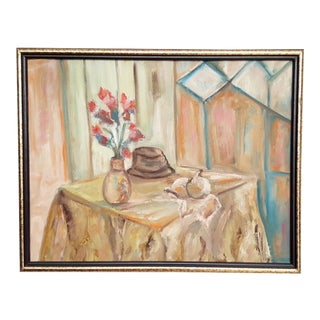 Abstract Original Oil Tablescape Painting For Sale