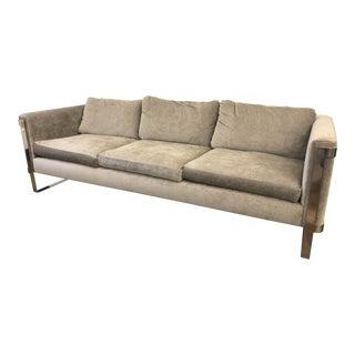 Milo Baughman Style Gray Velvet Chrome Sofa For Sale