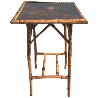 1900s Chinoiserie Lacquered Scorched Bamboo Side Table For Sale