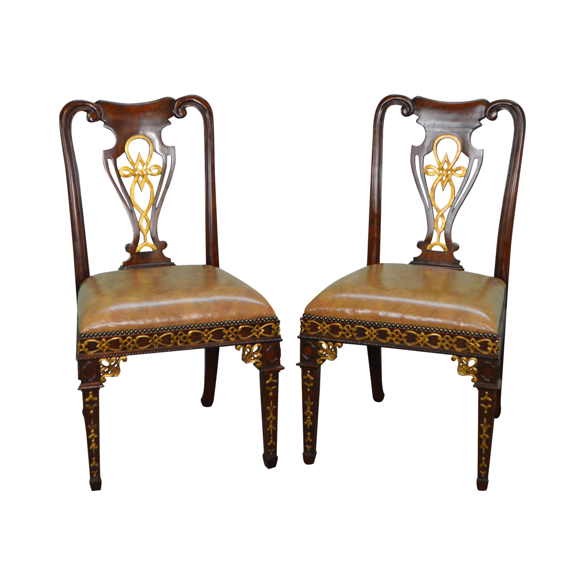 Maitland Smith Solid Mahogany Partial Gilt Regency Style Side Chairs   A  Pair