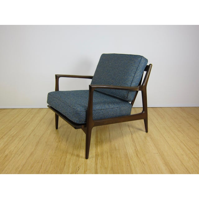 Selig 1960s Mid-Century Modern Ib Kofod Larsen for Selig Walnut Lounge Chair For Sale - Image 4 of 11