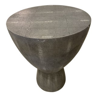 Mr Brown Faux Shagreen Accent Table For Sale