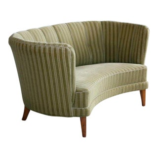 Danish Midcentury Curved or Banana Form Sofa or Loveseat in Beech and Mohair For Sale