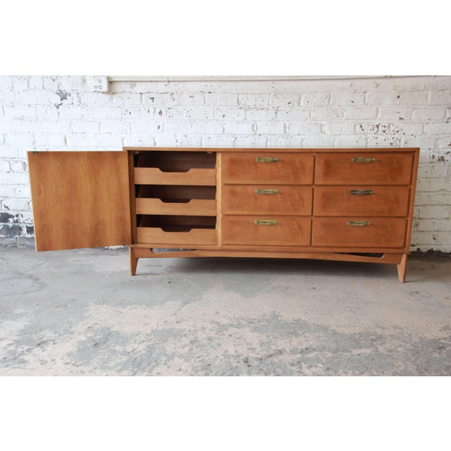 Mid-Century Modern Mahogany Parquetry Credenza by Red Lion For Sale In South Bend - Image 6 of 11