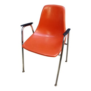 Mid Century PolyPly Fiberglass Orange Shell Arm Accent Chair For Sale