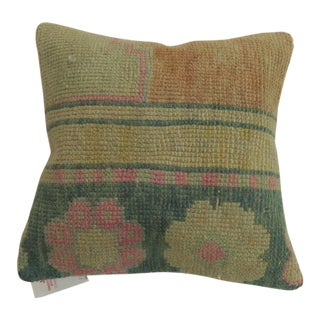 Turkish Rug Pillow in Peach and Pink Accents For Sale