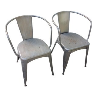 Steel Industrial Gray Metal Tub Style Chairs With Armrests - a Pair For Sale