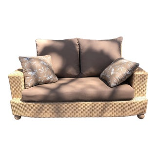 Hularo Outdoor Brown Synthetic Fiber Loveseat W/ Sunbrella Custom Fit Cushions and Throw Pillows