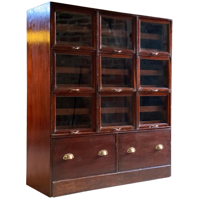 Haberdashery Drapers Shop Display Cabinet Mahogany Loft Style, circa 1940 For Sale - Image 11 of 11