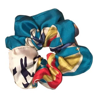 Hermes Handmade Vintage Silk Scarf Scrunchie in Aqua Blue, White Navy Red and Yellow For Sale