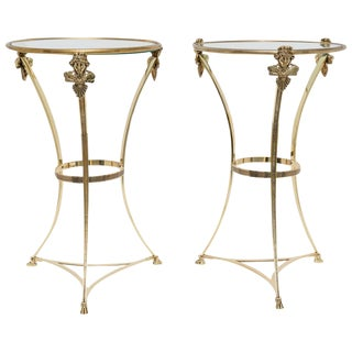 French Regency Style Brass Side Tables by Maison Jansen - a Pair For Sale