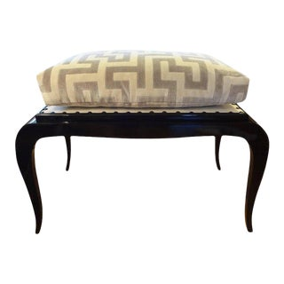 1930's French Art Deco Black Lacquered Bench Inspired by Jules Leleu For Sale
