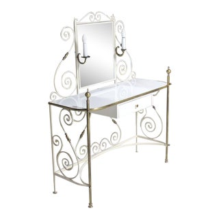 Decorative Vanity Dressing Table Milk Glass Top Metal Scrolls Brass Hardware For Sale