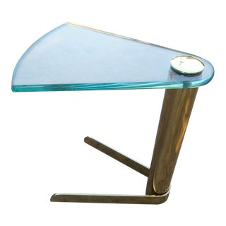 1970s Mid-Century Modern Brass & Glass Triangle Swivel Stand