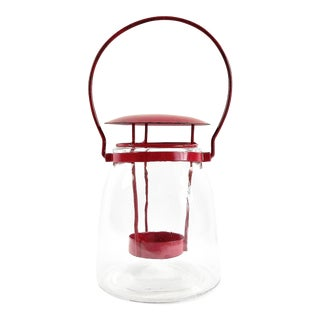 Round Red Metal Clear Glass Candle Lantern
