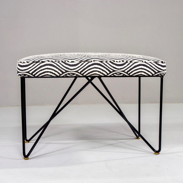 Italian Mid-Century Style Bench With Black Iron Hairpin Legs For Sale - Image 11 of 13