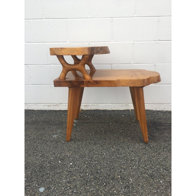 1960s Organic Modern Solid Slab Koa Wood 2-Tiered End Table For Sale - Image 11 of 12