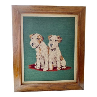 Vintage Framed Dog Needlepoint Portrait For Sale