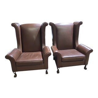 Over-Sized Custom Made Dark Brown Leather Chairs - A Pair For Sale